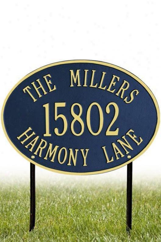 Hawthorne Three-line Standard Lawn Address Plaque - Satndard/3 Line, Ships Blue