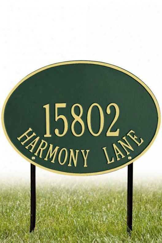 Hawthorne Two-line Estate Lawn Address Flat plate of metal - Estate/two Line, Green