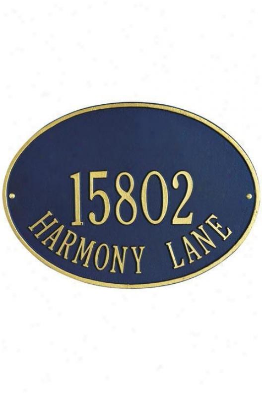 Hawthorne Two-line Estate Wall Address Brooch - Estate/two Line, Navy Blue