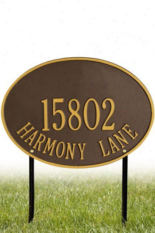 Hawthorne Two-line Standard Lawn Address Plaque - Standard/2 Line, Copper