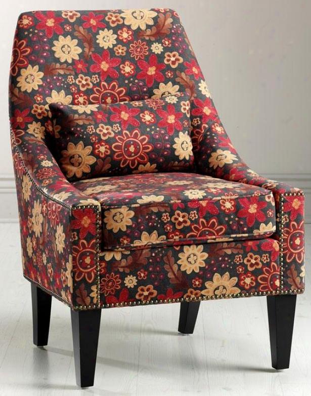 """hazelton Lounge Chair - 38.25""""hx26.5""""w, Red & Orng Flrl"""