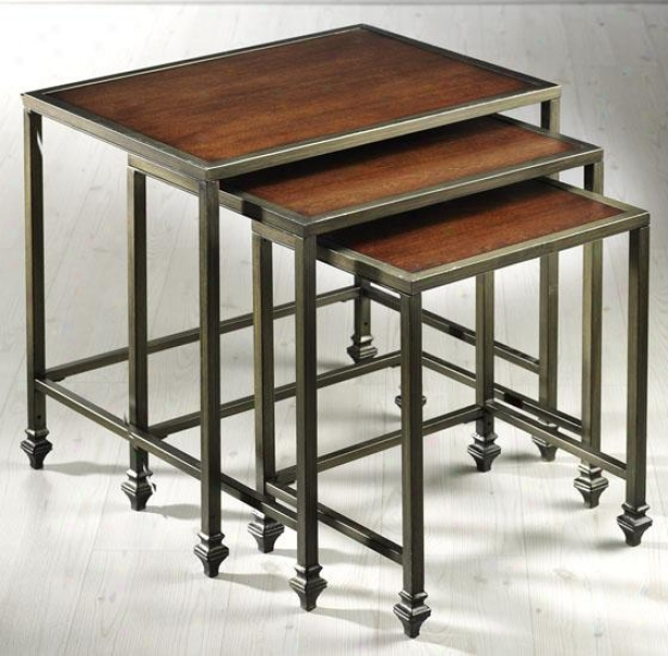 """hazelton Nested Tables - 24""""hx24""""wx18""""d, Ant Mtl/cherry"""