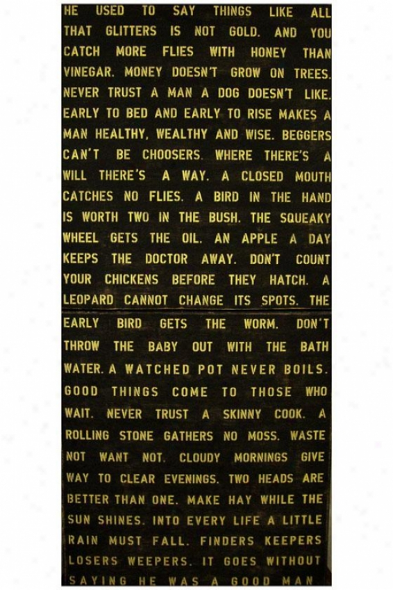 """he Used To Say Things Wooden Sign - St Of 2 - 20 X 44"""", Black"""