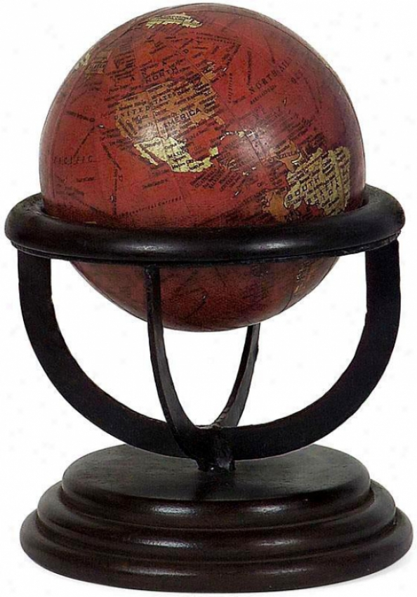 Heirloom Small Antique Globe - Mahogany Base, Antique Globe