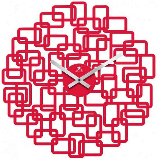 """helix Wall Clock - 19""""hx18.5""""w, Red Rasin"""