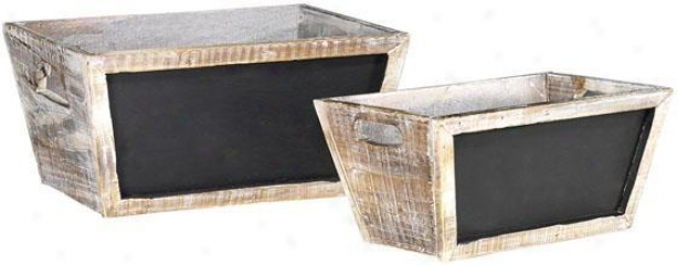 Herb Boxes With Chalkboards - Concrete Of 2 - Set Of 2, White