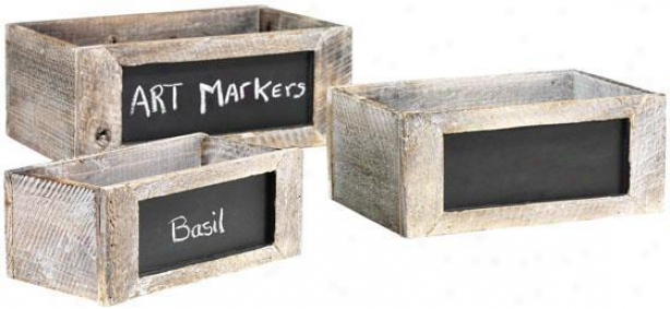 Herb Boxes With Chalkboards -S et Of 3 - Set Of 3, White