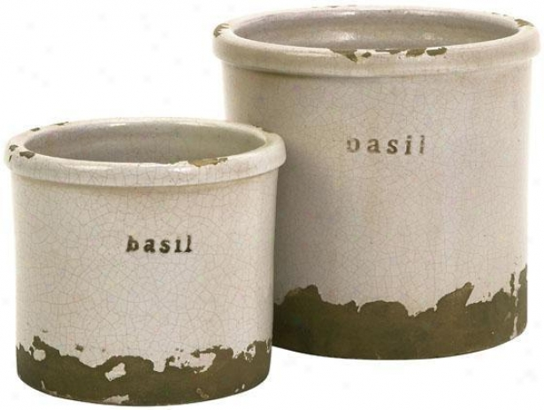 Herb Pots - Set Of 2 - Ser Of 2, Sage