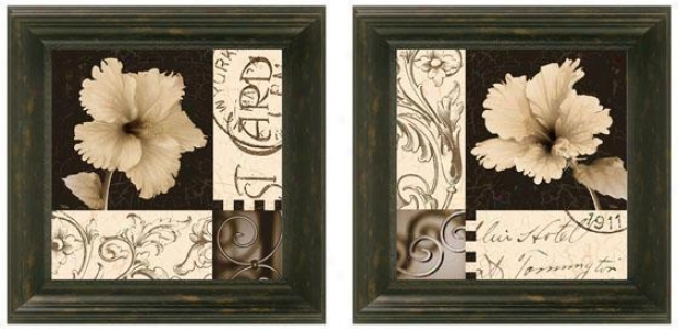 Hibiscus Flower Framed Wall Art - Set Of 2 - Set Of Two, Black