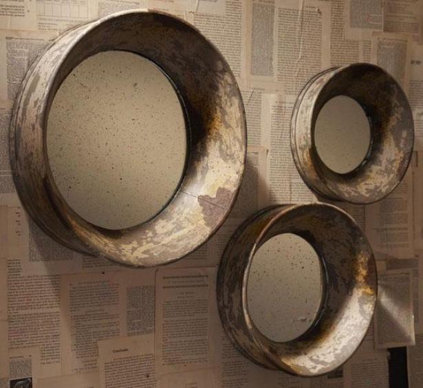 Hidcote Mirror - Set Of 3 - Set Of Three, Pumpkin