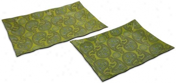 Hilaire Glass Trays - Set Of 2 - Set Of Two, Green
