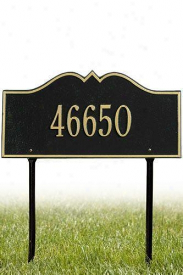 Hillsboro One-line Estate Lawn Superscription Plaque - Estate/one Equator, Black