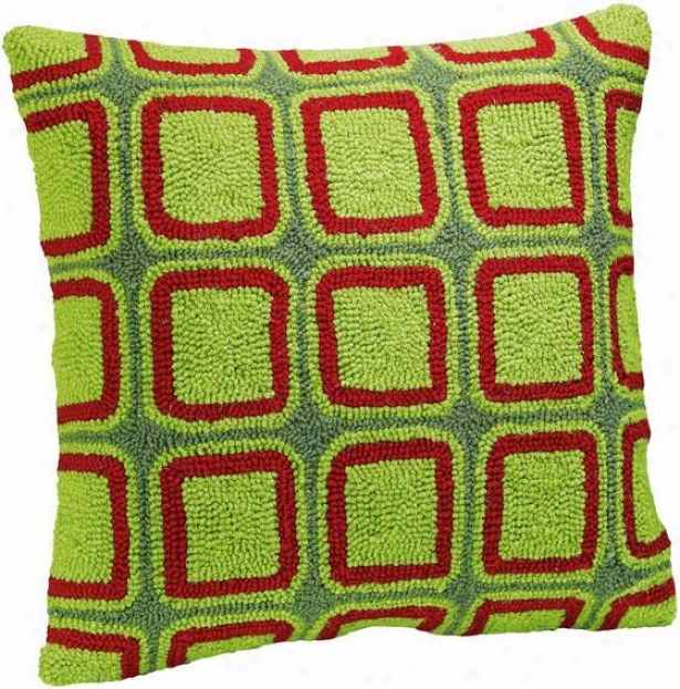 """holiday Hand-hooked Pillow - 16"""" Square, Green"""