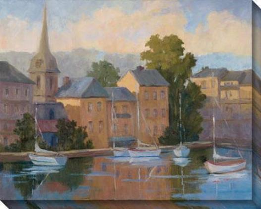 Honsleur Fishing Village I Canvas Wall Art - I, Blue