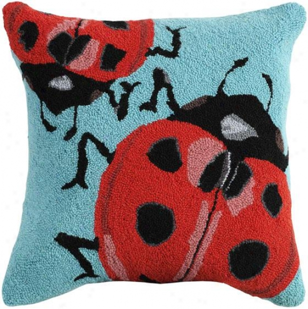 """hooke dInsect Pillow - 18"""" Square, Ladybug"""