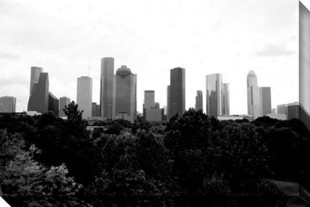 """houston Skyline Canvas Wall Art - 48""""hx32""""w, Black"""