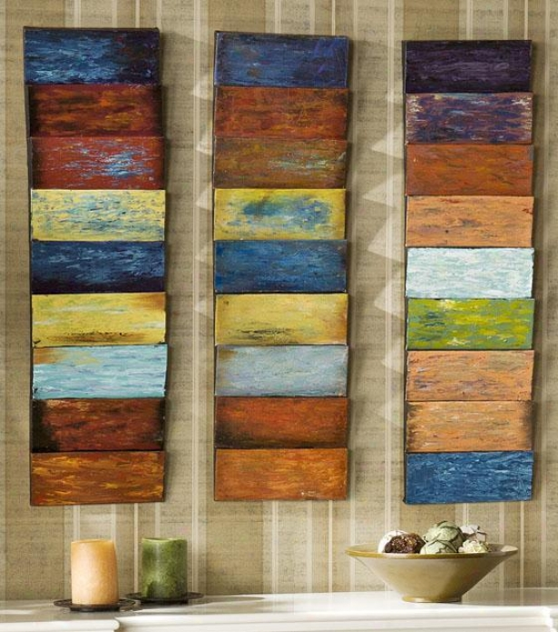 Hue Wall Sculpture - Set Of 3, Purple