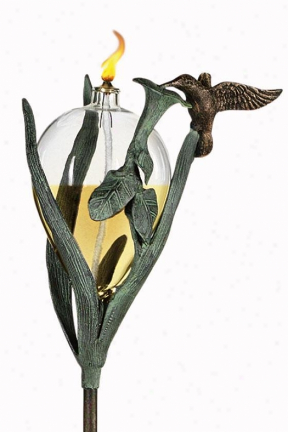 """hummingbird Oil Lamp And Stake - 45.5""""hx7""""wx6""""d, Brass Verdigris"""