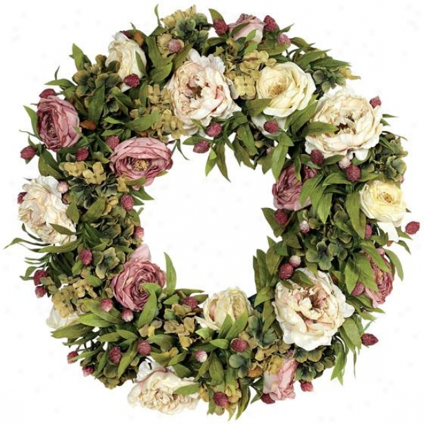 """""""hydrangea And Rose Wreath - 24""""""""d, Pink/green"""""""