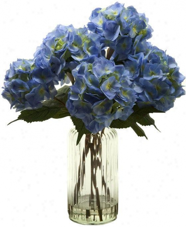 """hydrangeas In Tall Glass Vase - 25""""hx22""""w, Azure"""
