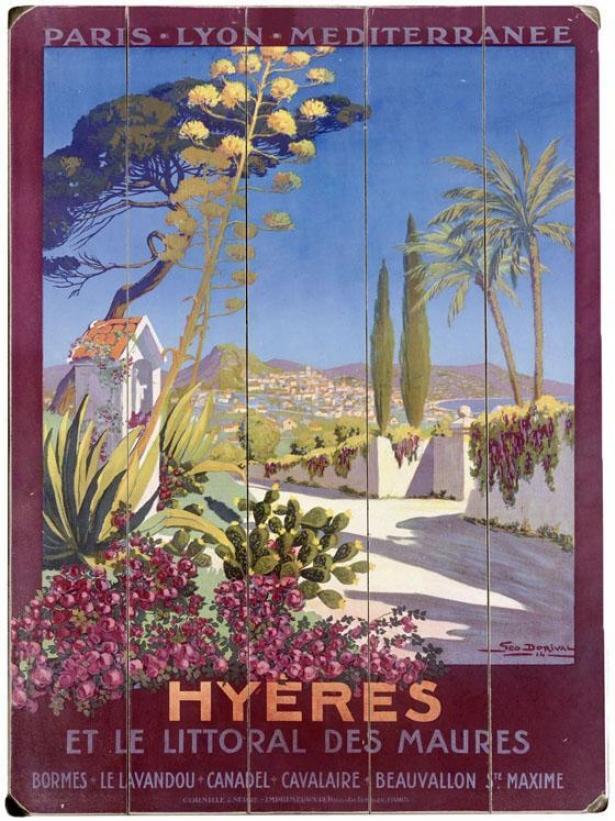 """hyeres French Riviera Beach Resort Wooden Cognizance - 20""""hx14""""w, Blue"""