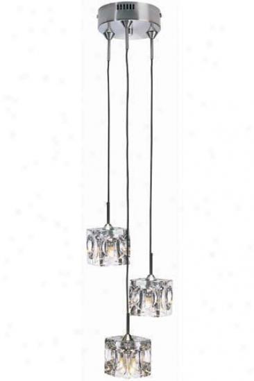 """ice Cube Three-light Pendant Lamp - 77""""hx5""""w, Clear Gls Cube"""