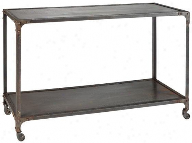 """industrial Sofa Console Table - 31""""h, Ivory"""