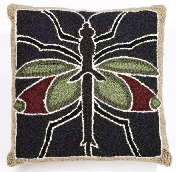 """""""insect Hook Pillow - 18"""""""" Square, Brown/green/red"""""""