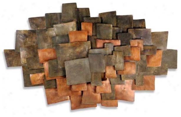 Integrate Wall Sculpturs - 49hx30wx3d, Brown Copper