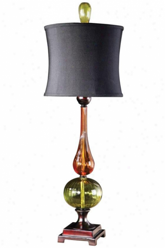 """""""iris Buffet Lamp - 34""""""""hx12.5""""""""dia, Auburn/green"""""""