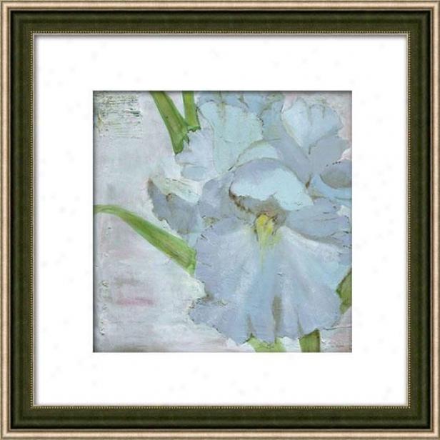 """iris In Periwinkle Framed Wall Art - 29""""hx29""""w, Matted Silver"""