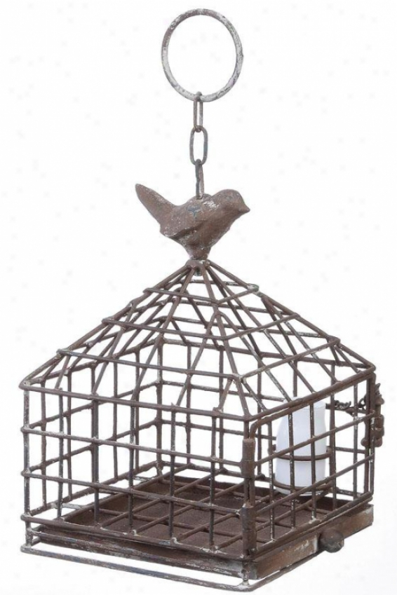 """iron Birdcage With Feeder - 6""""squarex9""""h, Pumpkin"""