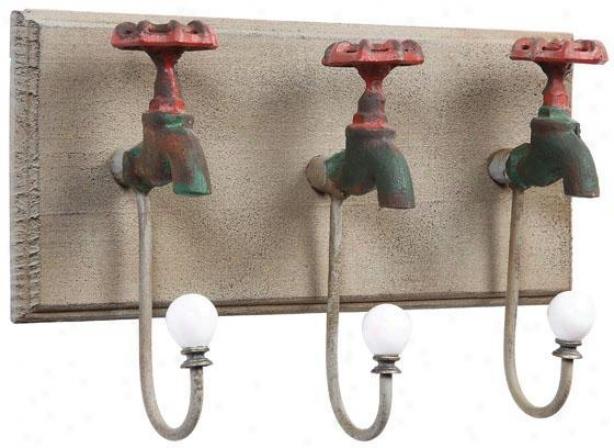 Iron Faucet Wall Hooks - 13.25x4, Green