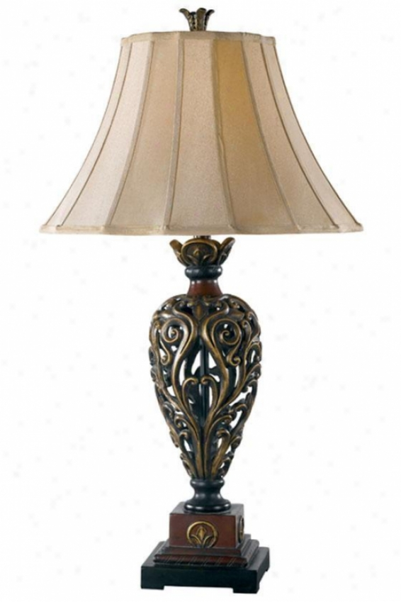 Iron Lace Table Lamp - Frivolous Gold, Golden Ruby