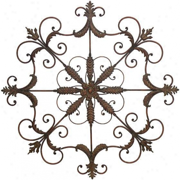 """iron Scrolled Wall Plaque - 51""""h X 51""""w, Pumpkin"""