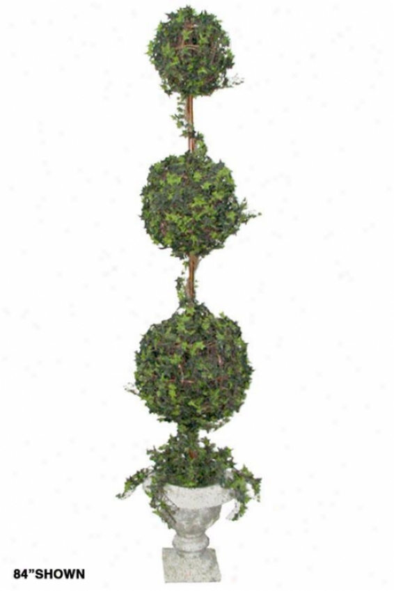 """ivy Multi-ball Topiary - Trpl 72""""h Resin, Resin Urn Base"""