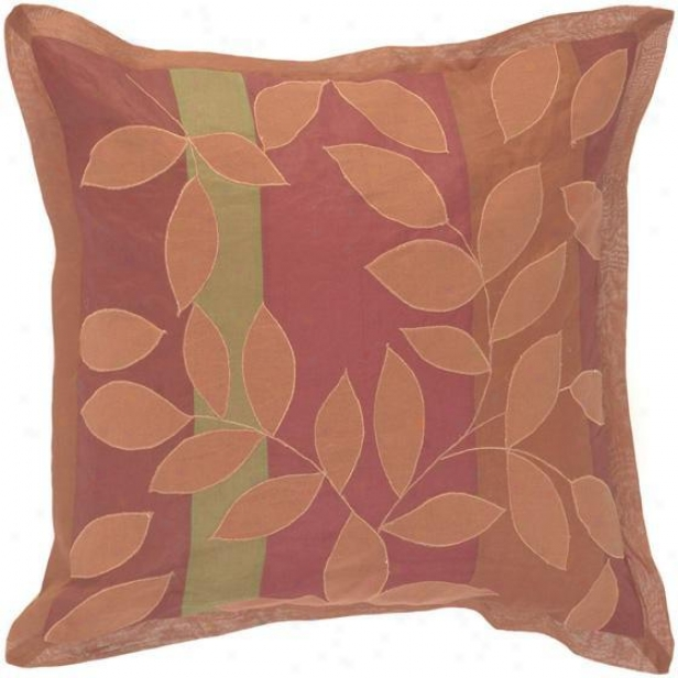 """ivy Patterned Pillows - Set Of 2 - 18""""x18"""", Burgundy/brick"""