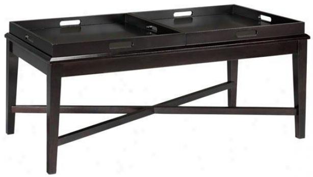 """jackman Coffee Table With Tray - 20""""hx48""""w, Coffee Brown"""