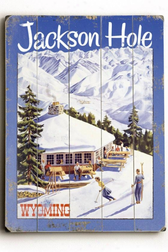 """""""jackson Hole Wyoming Wooden Sign - 20""""""""h X 14""""""""w, Blue"""""""