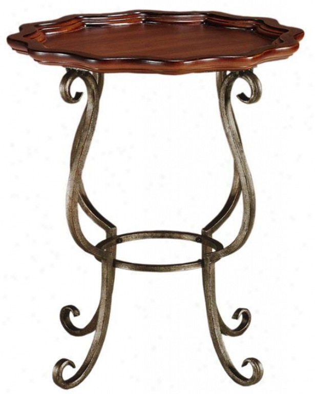 """jardiniere Iron Accent Side Table - 24""""hx20""""w, Brown"""