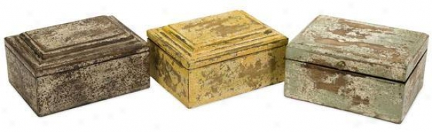 Jaspe5 Boxes - Set Of 3 - Set Of 3, Distressed Forest