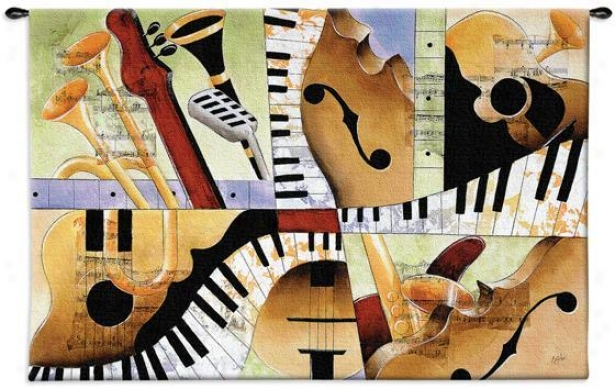 """jazz Mixture I Tapestry - 35""""hx52""""w, Multi"""