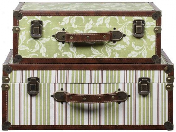 """""""jenna Canvas And Wood Suitcase - Set Of 2 - 18 X 13 7""""""""d, Multi"""""""