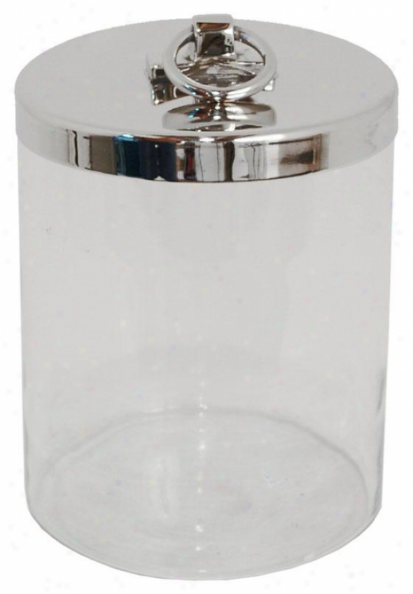 """jordan Glass Jar With Lid - 6""""hx5""""round, Silver"""