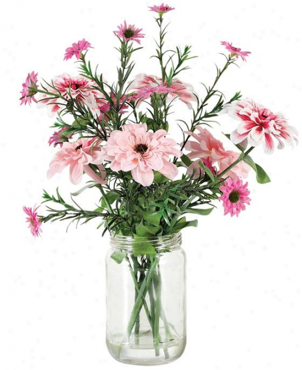 """julia Floral Arrangement - 14""""hx3.5""""d, Pink/green"""