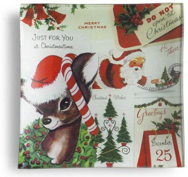 """""""just For You Square Christams Tray - 6""""""""hx6""""""""w, Holiday"""""""