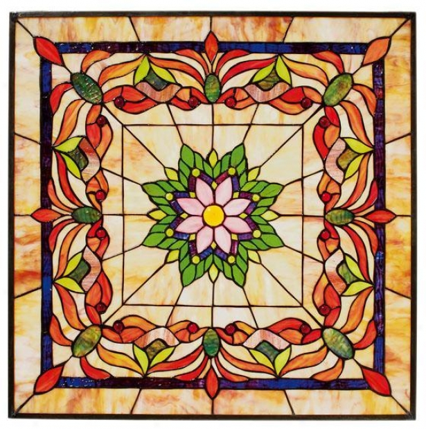 """kaleidoscope 24"""" Sqare Tiffany-style Stained Art Glass Window Panel - Square, Multi"""