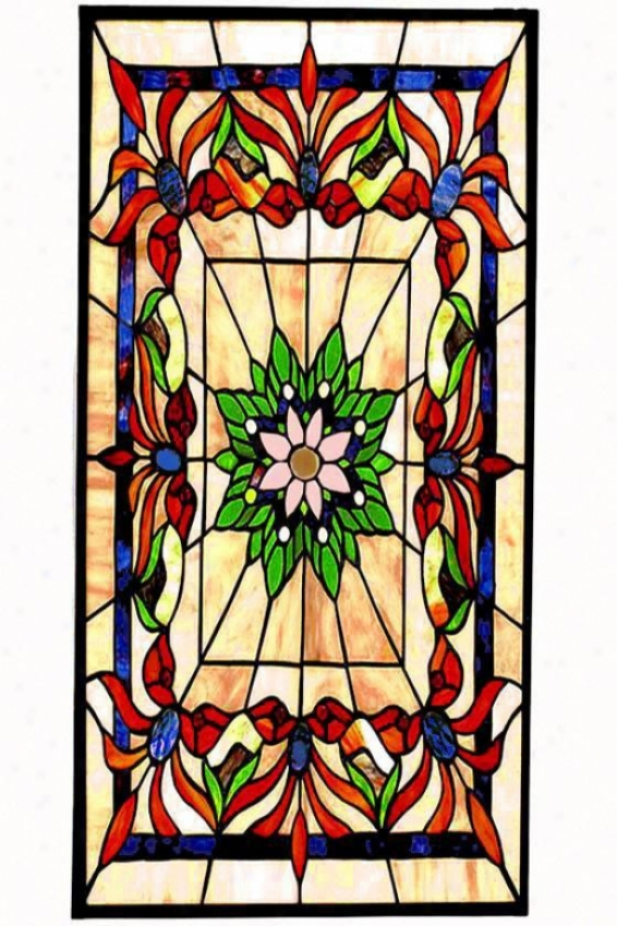 Kaleidoscope Large Rectangle Tiffany-style Stained Art Glass Window Panel - Large Rectangle, Multi
