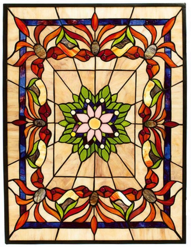 Kaleidoscope Medium Rectangle Tiffany-style Stained Art Glass Window Panel - Medium Rectangl, Multi