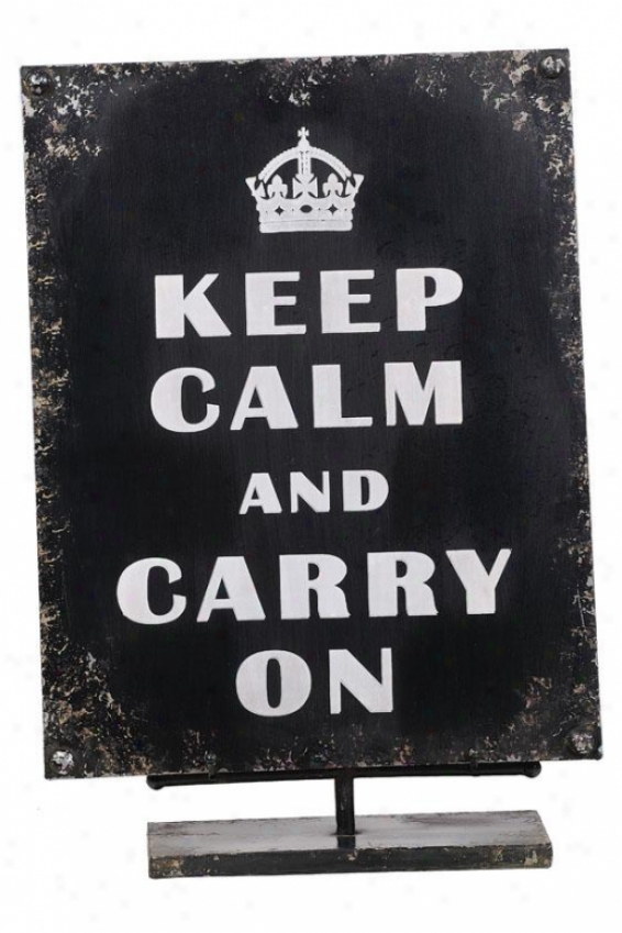"""keep Calm Sign With Easel - 18""""hx12""""wx4""""d, Black"""